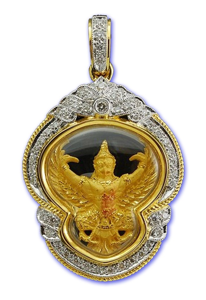 Solid Gold Garuda, Gold Case with Diamond encrusted frame