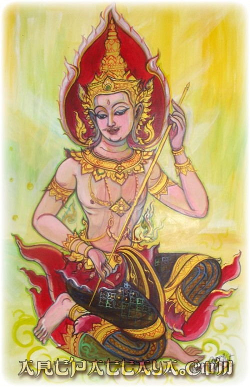 Deva with Sak Yant Instrument - Thai Buddhist Art