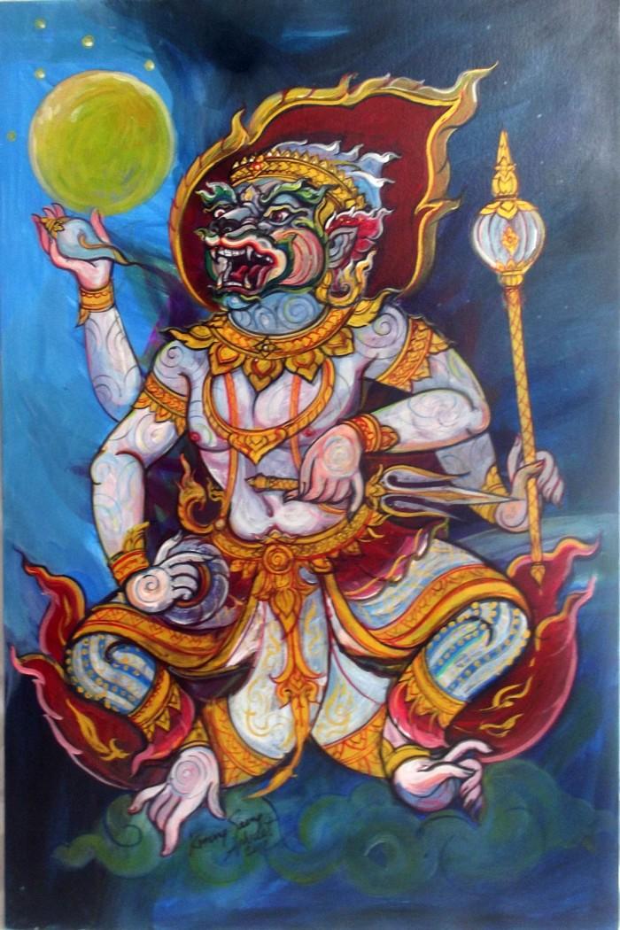 Lord Hanuman Yawning at the Moon - 4 Armed Vanora God