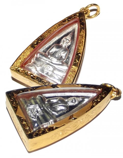 Solid Silver LP Sotorn Buddha Amulet with Solid Gold Custom Casing (waterproof)