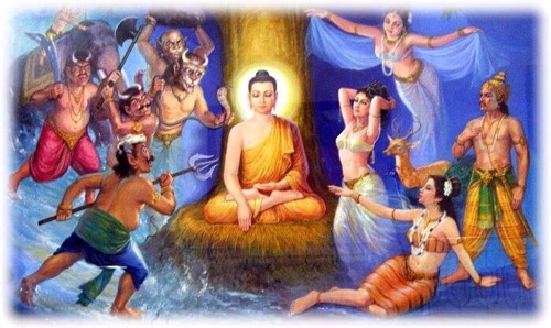 Lord Buddha Defeating the Maras - Chanting Namo Dtassa gives reverence to the Buddha and his Accomplishments
