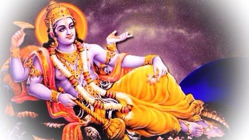 Pra Narai (Vishnu) on the bed of snakes in the Cosmic Ocean