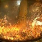 Nam Man Suea Prai Oil Being Made in Cauldron using Herbal Method, for the later immersion of Guru Monk Coins in a later empowerment ceremony