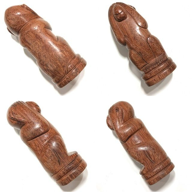 Ling Pid Ta Mai Gae 4.8 Inches Carved Closed Eyes Monkey Hand Inscribed Sacred Wood Statue Luang Por Bpun